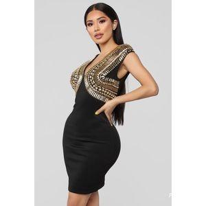 Fashion Nova Black Embellished V Neck Mini Dress